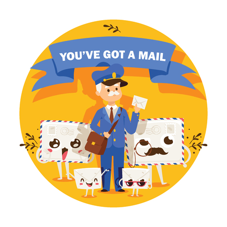 Postman vector mailman delivers mails in postbox or mailbox and post people character carries mailed letters in letterbox illustration backdrop postal delivery service background.