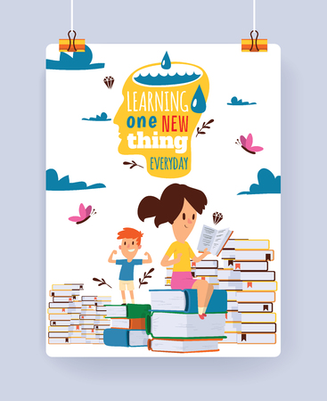 Kids reading books vector child character boy girl read textbook with bookmark illustration backdrop of educated children sitting in library studying learning background wallpaper.