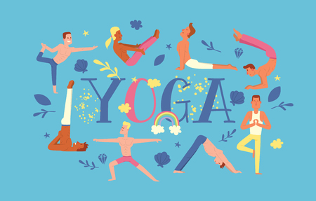 Yoga vector people yogi character training flexible exercise pose on yoga-classes illustration backdrop healthy man lifestyle workout with meditation balance relaxation background. Illustration