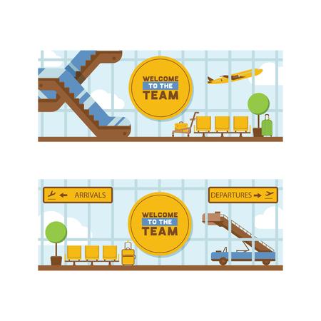 Aéroport vecteur départ arrivée terminal aéroports bâtiment escalator siège en toile de fond illustration voyageant par avion transport avion vol fond ensemble