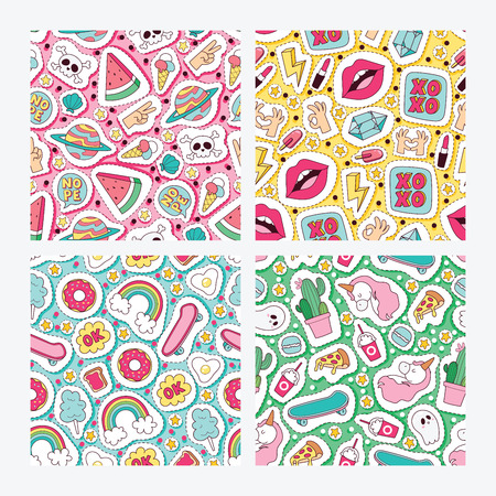 Cartoon vector seamless pattern girlish accessories lipstick icecream kids unicorn rainbow and doghnut sticker illustration colorful set of backdrop girlie background
