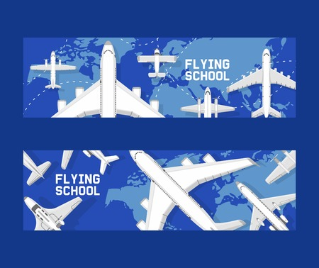 Plane vector aircraft airplane jet flight transportation flying to airport illustration aviation backdrop set of aeroplane airliner and airfreighter cargo traveling banner background.