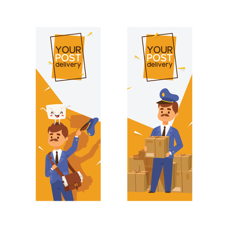 Postman vector mailman delivers mails in postbox or mailbox and post people character carries mailed letters in letterbox backdrop illustration set postal delivery service background Illustration