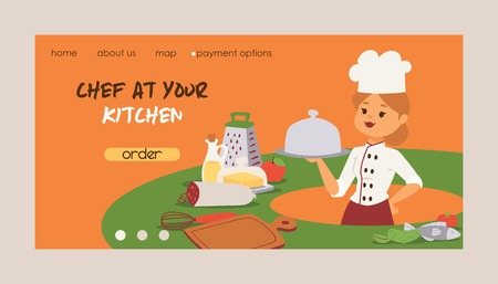 Chef vector cook character woman or man cooking food dish on kitchen of restaurant landing web page illustration backdrop of professional cooker or baker people in uniform web-page background.