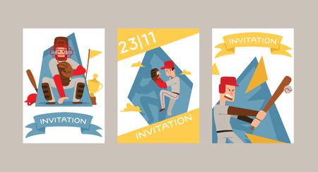Les gens de baseball vecteur personnage homme joueur dans les vêtements de sport de receveurs et batteurs de baseball ou de balle pour l'illustration de toile de fond de compétition garçons de sportif avec ensemble d'invitation de fond de gant de receveur.