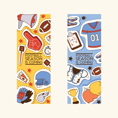 Soccer vector soccerball sticker football pitch and sportswear of footballer or soccerplayer illustration backdrop set of footballing clothes wallpaper trophy cup background.