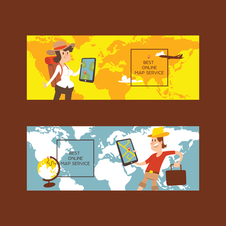 Tourist vector traveling people traveler man woman character sightseeing illustration backdrop tourism vacation and journey holiday lifestyle background set world map poster.