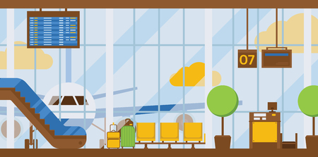 Aeropuerto, vector, salida, llegada, terminal, aeropuertos, edificio, escalera mecánica, asiento, ilustración, telón de fondo, viajar, por, avión, transporte, avión, vuelo, plano de fondo