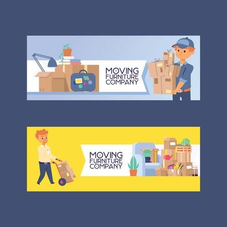 Kuriervektor Postbote Charakter des Lieferdienstes, der Paketkasten oder Paketillustrationshintergrund liefert Zusteller Person, die Möbelsofa zum Wohnungshaussatzhintergrund bewegt Vektorgrafik