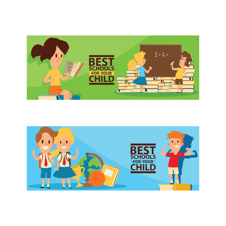 School supplies vector boy girl character kids education schooling accessory for schoolchilds backdrop children studying in classroom illustration set of educational stationery background banner.