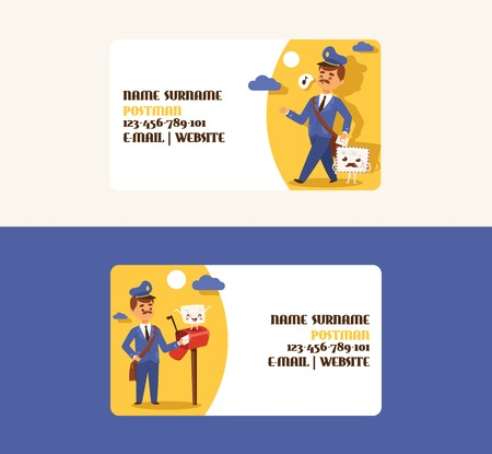 Postman vector business card mailman delivers mails in postbox or mailbox and post people character backdrop illustration set postal delivery service business-card background. Иллюстрация