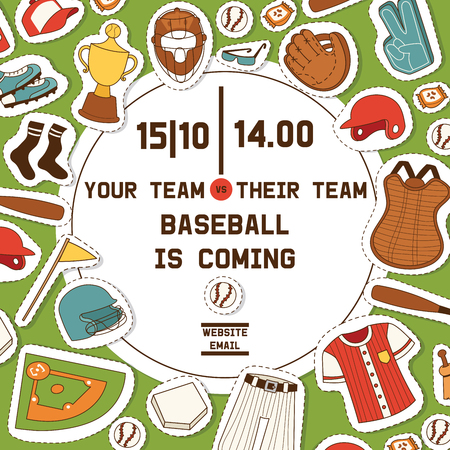 Baseball vector pattern catchers sportswear and batters baseballbat or ball for competition backdrop illustration sportsman clothes with catchers glove background banner. Banque d'images - 124588569