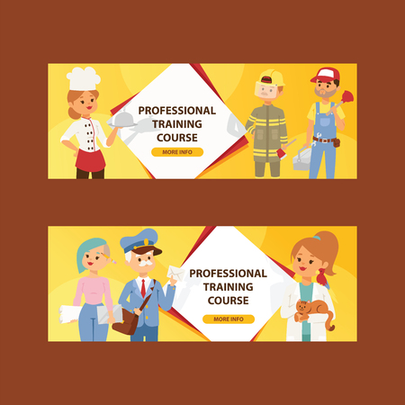 Occupation people vector man woman character of professions builder teacher chef illustration backdrop firefighter veterinarian doctor plumber background. Ilustração