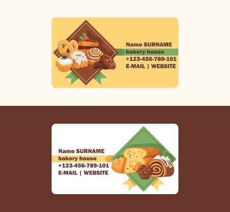 Carte de visite de vecteur de pâtisserie cupcake à la crème de gâteau au four et dessert de confiserie sucrée avec fond d'illustration de bonbons cuits beignet confit avec crème au chocolat et bonbons mis fond de carte de visite. Vecteurs