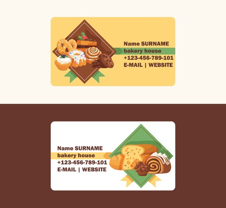 Pastry vector business card baked cake cream cupcake and sweet confection dessert with caked candies illustration backdrop confected donut with chococream and sweets set business-card background. Ilustração Vetorial