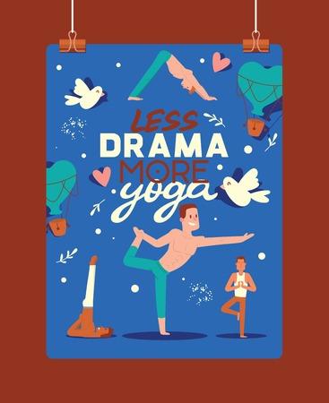 Yoga vector people yogi character training flexible exercise pose illustration backdrop healthy man lifestyle workout with meditation balance relaxation background.