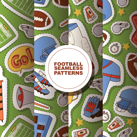 Soccer vector seamless pattern soccerball football pitch and sportswear of footballer or soccerplayer illustration backdrop set of footballing clothes trophy cup background. Zdjęcie Seryjne - 124588576