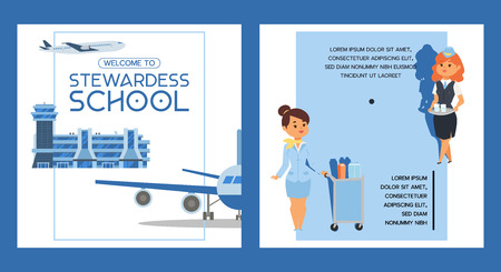 Stewardess school vector flight crew steward pilot people studying to fly on airplane airliner in airport illustration woman character stewardess backdrop banner design background Çizim
