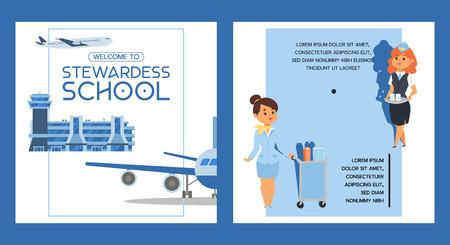 Stewardess scuola vettore equipaggio di volo steward pilota persone che studiano per volare su aereo di linea in aeroporto illustrazione donna carattere hostess sfondo banner design sfondo