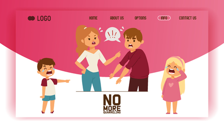 Quarrel vector web-page people man woman in family conflict crying children boy girl illustration backdrop unhappy couple relationship problem husband quarreling with wife background web site. Archivio Fotografico - 124249152