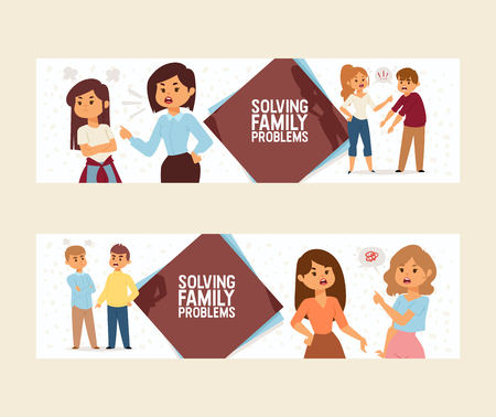 Quarrel vector people man woman in family conflict with children illustration backdrop unhappy couple relationship problem husband quarreling with wife in divorce background.