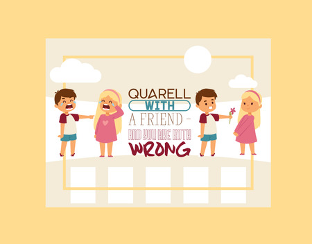 Forgive me vector kid character and children in quarrel forgiving sorry apology illustration of forgiveness apologize card background crying girl boy friends backdrop. Illustration