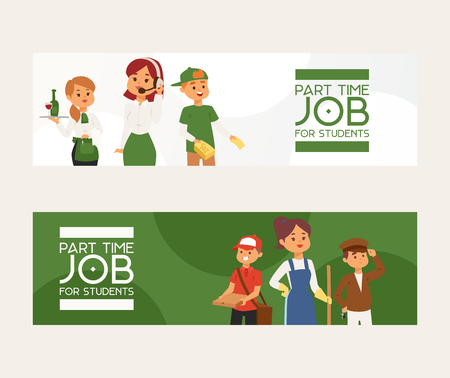Part-time job vector young woman man character at part time work cleaner waitress in cafe and pizza deliveryman illustration backdrop ad of temporary occupation operator in call centre ad background Stock Illustratie