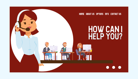 Call center vector web page people man woman character working in call-office to support customers illustration backdrop of beautiful operator in headset business web-page background