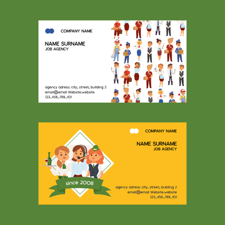 Job agency vector business-card woman man character work doctor teacher waitress deliveryman stewardess illustration backdrop of professional occupation operator call centre business card background.