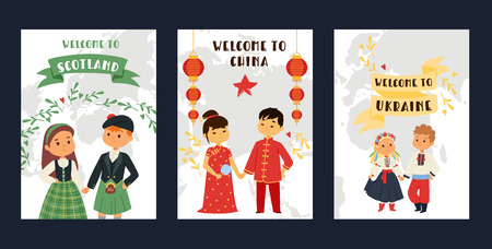 Children nationalities vector kids characters in traditional costume national dress of China Ukraine Scotland culture illustration backdrop of international multicultural friendship background.