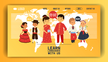 Children nationalities vector web page kids characters in traditional costume national dress of China Ukraine Spain culture illustration backdrop of multicultural different languages background.