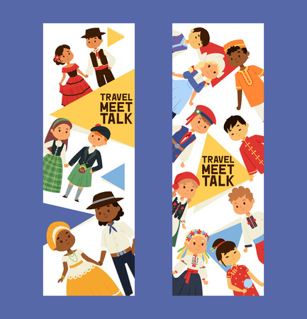 Children nationalities vector kids characters in traditional costume national dress of China Ukraine Spain culture illustration backdrop set of international multicultural friendship background. Vektorové ilustrace