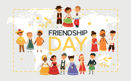 Children nationalities vector kids characters in traditional costume national dress of China Ukraine Spain culture illustration backdrop of international multicultural friendship background.