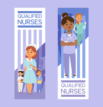 Doctor vector doctoral woman character professional medical worker nurse girl physician in clinic illustration backdrop hospital medicable ad banner background.