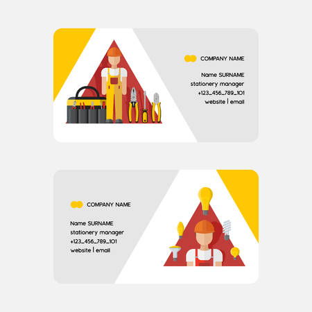 Electricity vector business card electrician character power electrical socket bulbs energy of solar panels illustration backdrop industrial electric plugs and tools pliers business-card background. Illustration