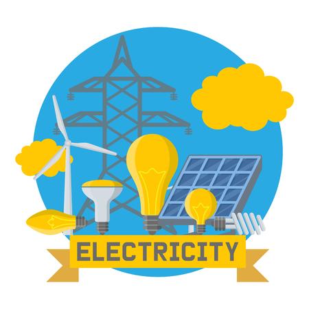 Elektrische Glühbirnen der Elektrizitätsvektorleistung Energie von Sonnenkollektoren Illustrationshintergrund industrieller elektrischer Technologiehintergrund.