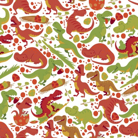 Dinosaur vector seamless pattern tyrannosaurus rex cartoon character dino and jurassic tyrannosaur attacking illustration backdrop of ancient animal background Ilustração