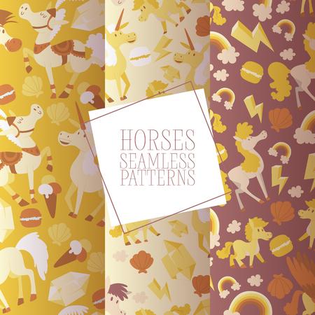Kids horse vector seamless pattern cartoon pony horsed character with horn illustration horsy backdrop set of fantasy child ponytailed animal horse-breeding background Ilustrace