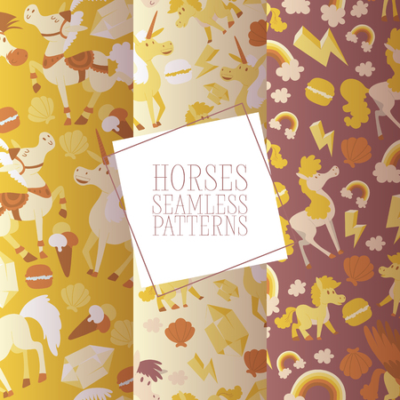 Kids horse vector seamless pattern cartoon pony horsed character with horn illustration horsy backdrop set of fantasy child ponytailed animal horse-breeding background Illustration