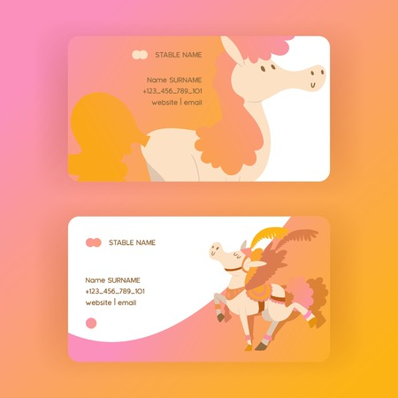 Kids horse vector business-card cartoon pony horsed character with horn illustration horsy backdrop set of fantasy child ponytailed animal horse-breeding business card background. 向量圖像