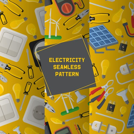 Electricity vector seamless pattern power electrical socket bulbs energy of solar panels illustration backdrop industrial electric plugs and tools pliers background.