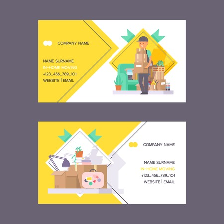 Courier vector business card postman man character of delivery service delivering parcel box package flower illustration backdrop deliveryman person transporting set of business-card background.
