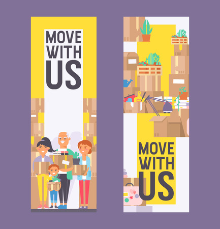 Moving vector family woman man kids character of delivery service delivering parcel box or package illustration backdrop deliveryman person removing furniture boxes background.