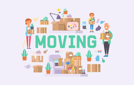 Moving vector family woman man kids character of delivery service delivering parcel box or package illustration backdrop deliveryman person removing furniture boxes at home background.