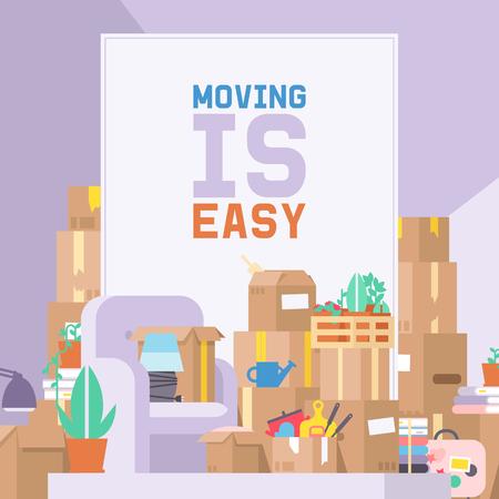 Kuriervektor-Postbotecharakter des Lieferdienstes, der Paketkasten oder Paketillustrationshintergrundlieferantperson liefert, die Möbelsofa zum Wohnungshaushintergrund bewegt.