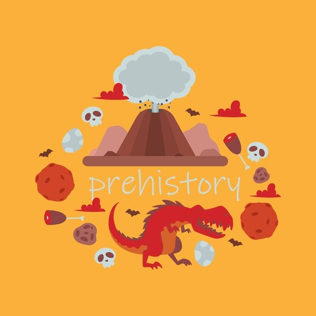 Dinosaur vector tyrannosaurus rex cartoon character dino and attacking jurassic tyrannosaur illustration backdrop of ancient animal volcano meteorite scull background Ilustração
