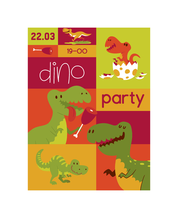 Dinosaur vector seamless pattern kids tyrannosaurus rex cartoon character dino and jurassic tyrannosaur on wallpaper poster illustration backdrop of ancient animal background Ilustração