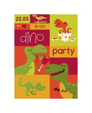 Dinosaur vector seamless pattern kids tyrannosaurus rex cartoon character dino and jurassic tyrannosaur on wallpaper poster illustration backdrop of ancient animal background Illustration