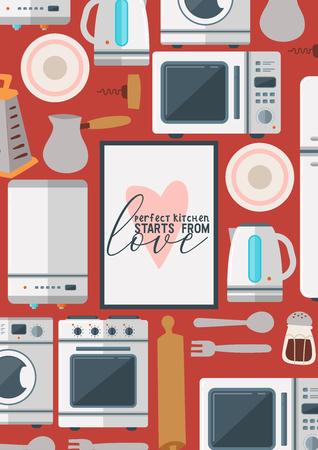 Kitchenware seamless pattern vector household appliance cookware for cooking or kitchen utensils for kitchener illustration refrigerator in kitchenette set background backdrop. Ilustração