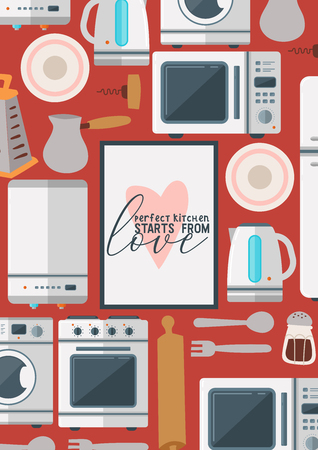 Kitchenware seamless pattern vector household appliance cookware for cooking or kitchen utensils for kitchener illustration refrigerator in kitchenette set background backdrop. Illustration